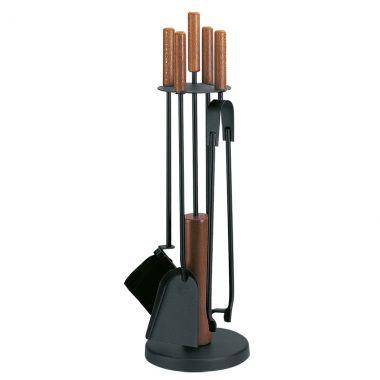 Каминный набор Comex - 4 предмета, черный с деревянными ручками