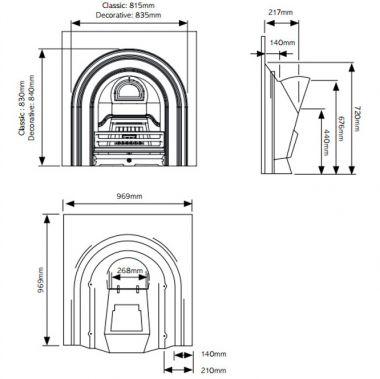 Каминная вставка Stovax Arched insert classical highlight polished