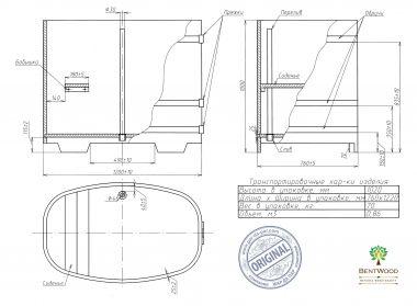 Купель овальная из лиственницы Bentwood 760x1160