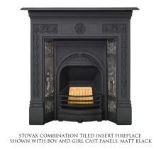 Английский камин Stovax Combination Tiled insert matt black