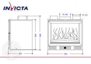 Топка каминная Invicta 600 Grande Vision Turbo