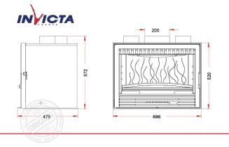 Топка каминная Invicta 700 Compact 520 C Turbo