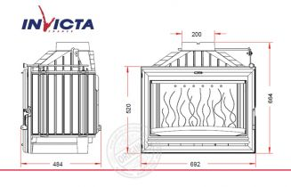 Топка каминная Invicta 700 Options с шибером и вторичным дожигом